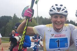 Linn Sömskar tog VM-guld på rullskidor i Val di Fiemme, Italien, på torsdagen. FOTO: Svenska skidförbundet.