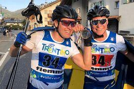 Erik Silfver och Alfred Buskqvist tog guld på teamsprinten vid rullskid-VM i Italien. FOTO: Svenska skidförbundet.