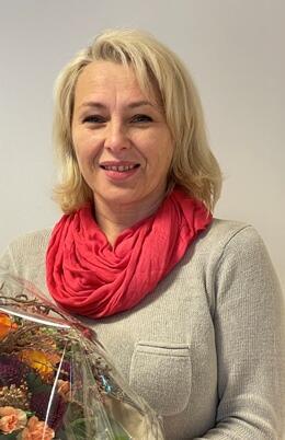 Valerija fikk blomster fra Sørfold kommune