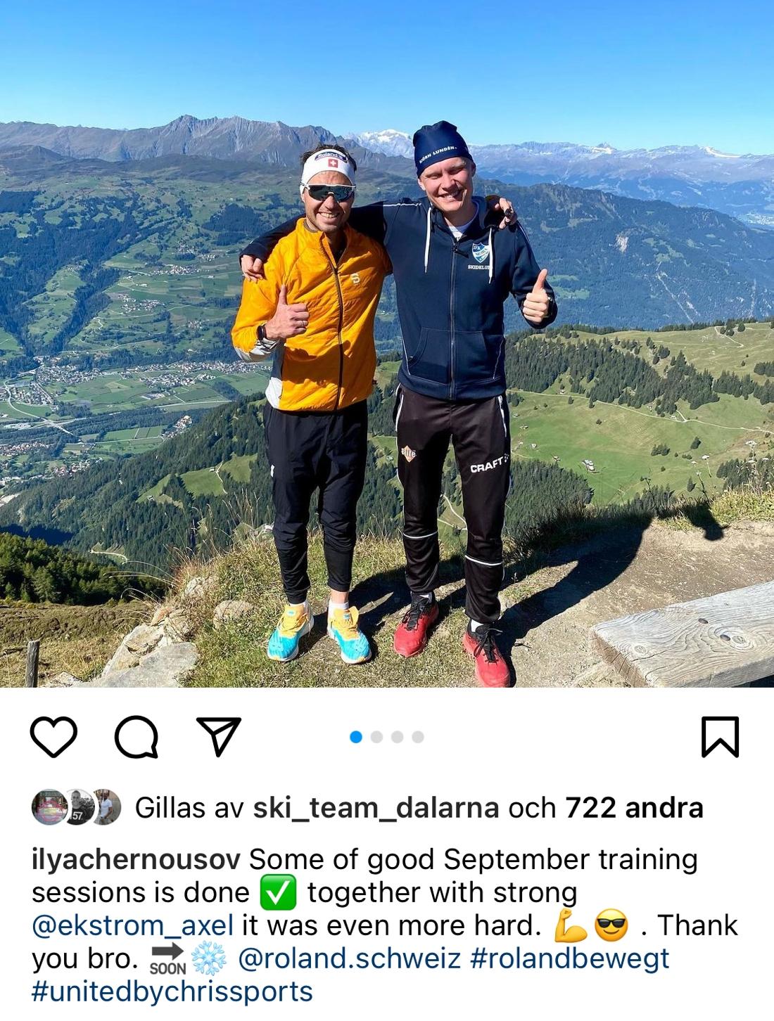 Iiya Chernousov tackar Axel Ekström för bra träningssparring på sitt Instgram-konto.