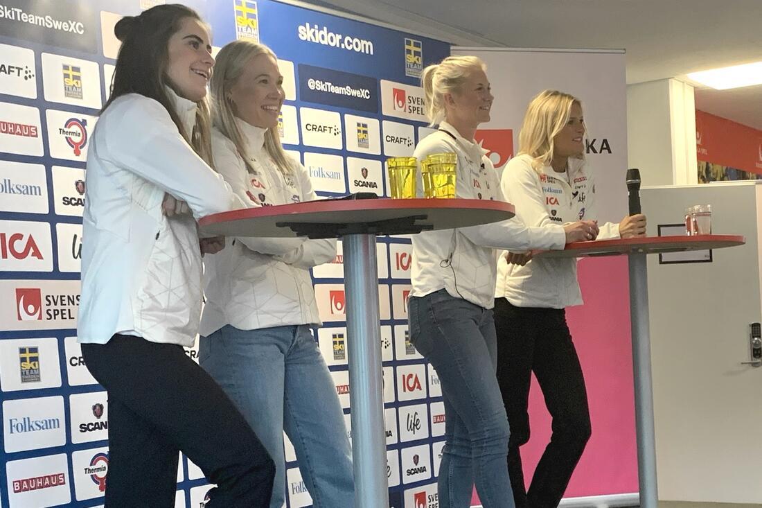 För att se Ebba Andersson, Jonna Sundling, Maja Dahlqvist och Frida Karlsson i vinter så måste man hanTV6 som nu blivit en betal-kanal. Tvärt emot vad Svenska skidförbundet kommunicerade för en månad sedan. FOTO: Johan Trygg/Längd.se.