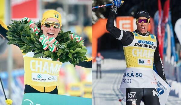Lina Korsgren och Emil Persson dominerade Visma Ski Classics förra säsongen. I vinter kan du följa dem i Vinterstudion på SVT. FOTO: Visma Ski Classics.