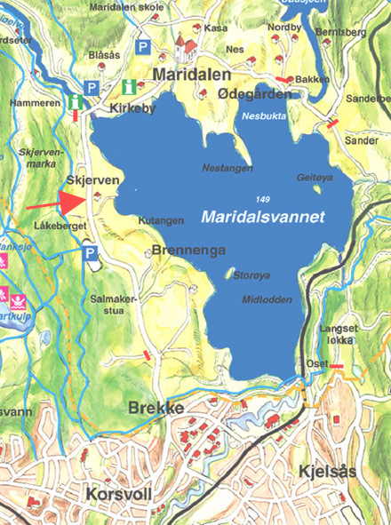 Kart over Maridalen