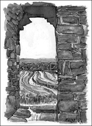 Vestportalen kirkeruinen; Frances Dodman