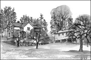 Gamleskolen Tegning: Frances Dodman